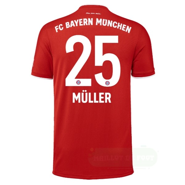 Vente adidas NO.25 Muller Domicile Maillot Bayern Munich 2020 2021 Rouge