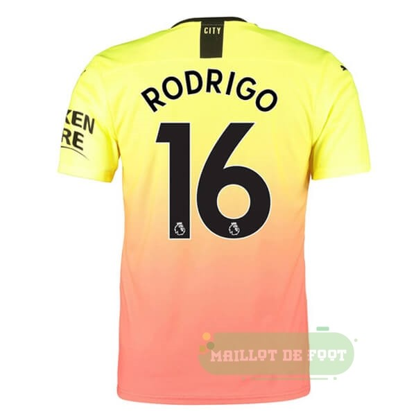 Vente PUMA NO.16 Rodrigo Third Maillot Manchester City 2019 2020 Orange