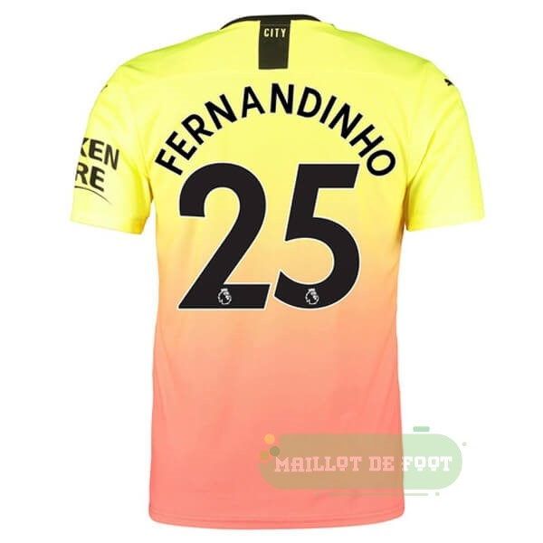 Vente PUMA NO.25 Fernandinho Third Maillot Manchester City 2019 2020 Orange