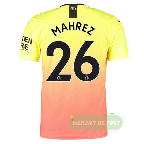 Vente PUMA NO.26 Mahrez Third Maillot Manchester City 2019 2020 Orange