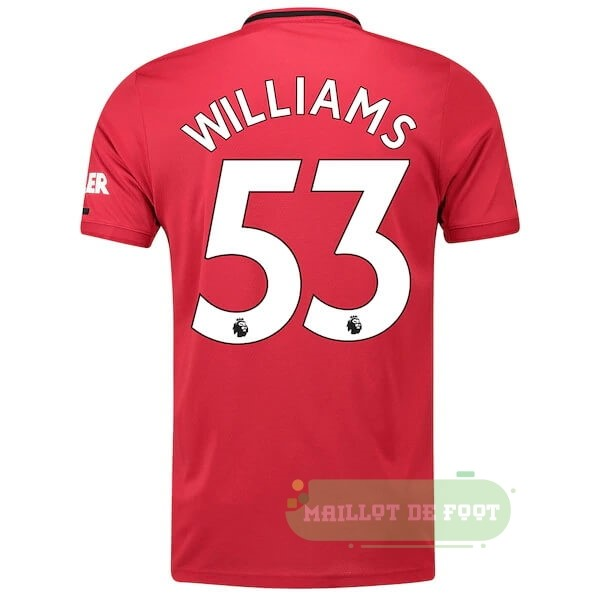 Vente adidas NO.53 Williams Domicile Maillot Manchester United 2019 2020 Rouge